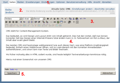 Hier ein Screenshot unseres Content-Management-Systems.
